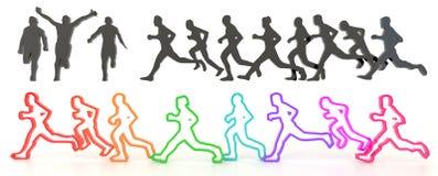 Ensembles de silhouette d'ébauche et de personnes courantes colorées dans 3 Illustration Stock
