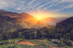 Ensembles de The Sun derrière les montagnes Belle vue du mountai Photographie stock
