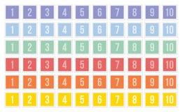 Ensembles de timbres-poste avec des nombres Image stock