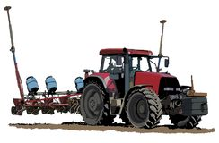 Ensemencement de l'illustration de tracteur photographie stock libre de droits