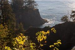 Ensenada bij zonsondergang met het uiterst kleine cijfer van een persoon op de kam van de rots in de zuidelijke kust van Oregon,  stock foto