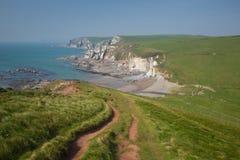 Ensenada de Ayrmer cerca de la trayectoria del sur británica de la costa oeste de Devon England de la bahía de Challaborough Imagen de archivo