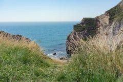 Ensenada de Lulworth y la costa jurásica Fotografía de archivo