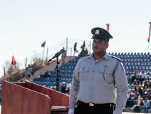 Ensign of the IDF stands near the podium at the evening formation in Nahariya, Israel Royalty Free Stock Photos