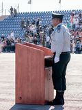 Ensign of the IDF stands near the podium at the evening formation in Nahariya, Israel Royalty Free Stock Images