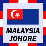 ensigns, flag and coat of arm of Malaysia - Johore stock image