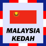 ensigns, flag and coat of arm of Malaysia - Kedah stock image