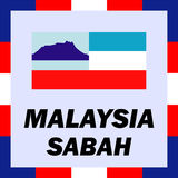 Ensigns, flag and coat of arm of Malaysia - Sabah Royalty Free Stock Photo