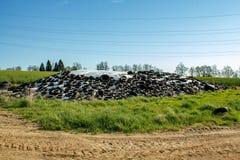 Ensilaje por los granjeros que usan los neumáticos viejos como carga Imagen de archivo