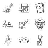 Ensinando uma criança que os ícones se ajustam, esboce o estilo ilustração royalty free