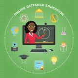 Ensino à distância, aprendendo O estudante escuta a leitura Imagem de Stock