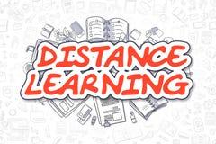 Ensino à distância - palavra do vermelho dos desenhos animados Conceito do negócio Foto de Stock
