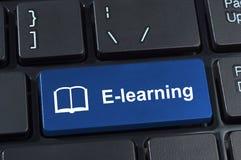 Ensino electrónico do botão com livro do ícone. fotografia de stock royalty free