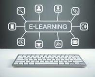 Ensino eletrónico Conceito da instrução do Internet foto de stock royalty free