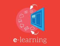 Ensino eletrónico do fundo de Infographics Conceito do negócio Ajuste ícones Foto de Stock Royalty Free