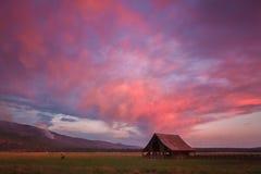 Enslig ladugård i solnedgånghimlar Arkivfoton