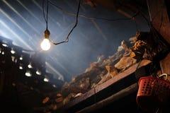 Ensligt ljus på lantligt vedträlager Arkivfoto