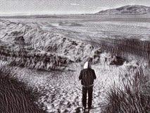 Enslingen går på en engelsk strand för att skissa stock illustrationer