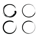 Enso Zen Brush Strokes Black Ink Vector Set. Illustration Royalty Free Stock Photo