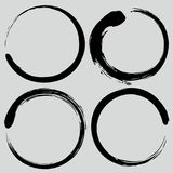 Enso Zen Circle Brush Set. Vector Painting Illustration Stock Image
