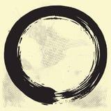 Enso Zen Circle Brush Vector Illustration à l'encre noire sur le vieux vecteur de papier illustration stock