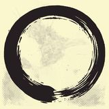Enso Zen Circle Brush Vector Illustration Black Ink on Old Paper Vector. Design Royalty Free Stock Photos