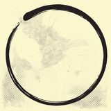 Enso Zen Circle Brush Vector Illustration Ink on Old Paper. Vector royalty free illustration