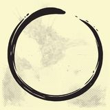 Enso Zen Circle Brush Vector Illustration på gammalt papper royaltyfri illustrationer