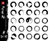Enso zen circle set elements . Ink grungy watercolor pattern painting design . White isolated background . Vector illustration.  royalty free illustration