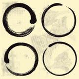 Enso Zen Set sur le vieux fond de papier illustration stock