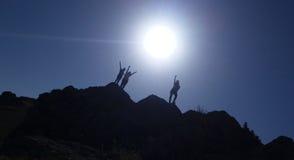 Ensoleillé, lever de soleil, les gens, montagne, voyage Photo stock