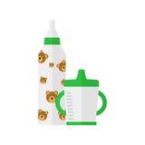 Enspillda flaska och för barn` s rånar på en vit bakgrund också vektor för coreldrawillustration Royaltyfri Fotografi