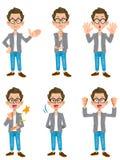 Enstil manuppsättning av 6 typer av poserar 2 vektor illustrationer