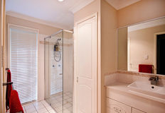 Ensuite Bathroom. An ensuite bathroom in a modern house photographed with natural lighting Stock Image