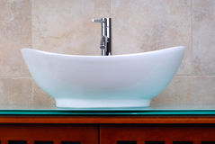 Ensuite Bathroom. Newly Renovated Bathroom With A Modern Faucet And Vanity Bowl royalty free stock photo
