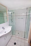 Ensuite Shower. A modern ensuite bathroom shower with glass and tiles Stock Photos