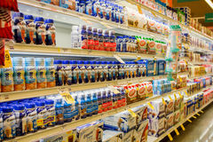 Ensure nutritional shakes. Aisle in a typical Safeway Grocery store. Ensure line of adult nutrition shakes provides, high quality protein, and essential Royalty Free Stock Photography