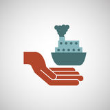 Ensure protection insurance risk. Boat isolated,  illustration Stock Image