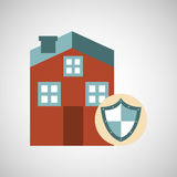 Ensure protection insurance risk. Home isolated,  illustration Stock Images