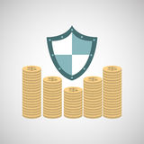 Ensure protection insurance risk. Money isolated,  illustration Royalty Free Stock Photos
