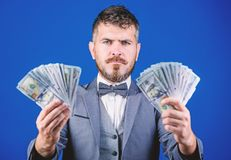 Ensuring his financial future. Bearded man hold cash money. Currency broker with bundle of money. Making money with his. Own business. Business startup loan royalty free stock images