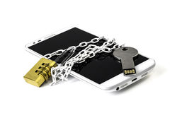 Ensuring smartphone by chain and pulley Stock Photos