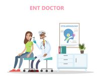 ENT doctor checking ear of the patient royalty free illustration