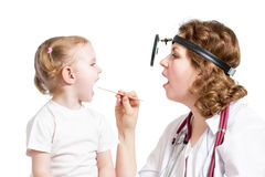 ENT doctor examining kid isolated Royalty Free Stock Image