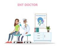 ENT doktor som kontrollerar örat av patienten royaltyfri illustrationer