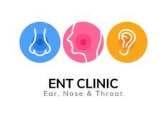 ENT doktorslogomall Klinik för doktor för hals för öranäsa Vård- otolaryngologyillustration för mun stock illustrationer