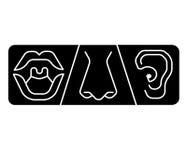ENT loga szablonu klinika Otolaryngology ucho, nos, gardło doktorscy specjaliści Anatomia, audiologistlogo pojęcie kreskowa wekto Obrazy Stock