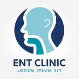 ENT logo template. Head for ear, nose, throat doctor specialists. logo concept. Line vector icon. Editable stroke. Flat linear ill Royalty Free Stock Images
