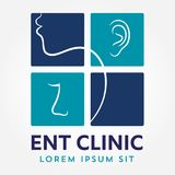 ENT logo template. Head for ear, nose, throat doctor specialists. logo concept. Line vector icon. Editable stroke. Flat linear ill. ENT logo template With Head Royalty Free Stock Photos