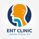 ENT logo template. Head for ear, nose, throat doctor specialists. logo concept. Line vector icon. Editable stroke. Flat linear ill Stock Photos